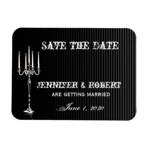 Gothic Candelabra on Black Silver Save the Date Rectangular Magnet