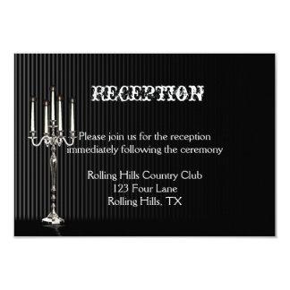 Gothic Candelabra on Black Wedding Reception Card