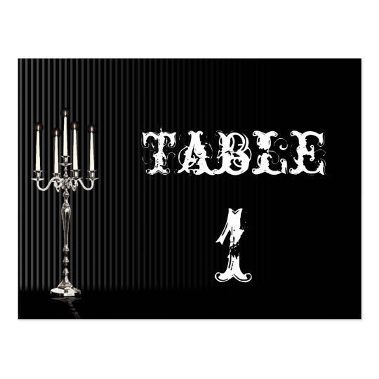 Gothic Candelabra on Black Wedding Table Number Postcard