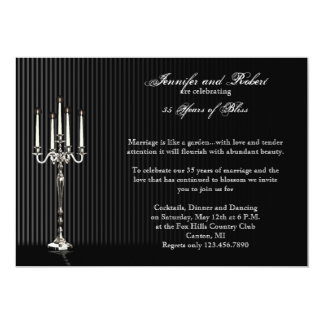 Gothic Candelabra Stripe Wedding Anniversary 5x7 Paper Invitation Card