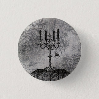 Gothic Candlestick with Spider, Halloween Pinback Button
