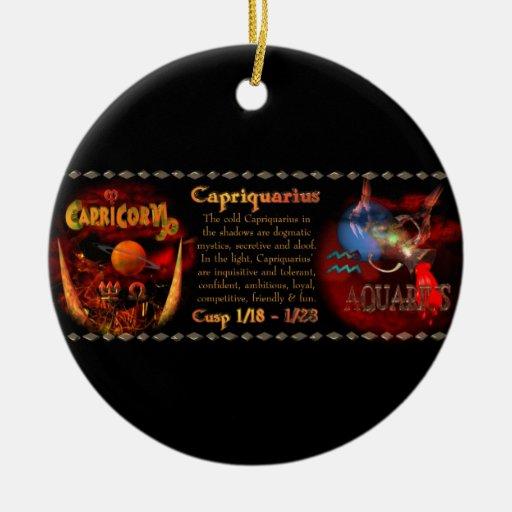 Gothic Capricorn-Aquarius zodiac cusp Valxart.com Double-Sided Ceramic Round Christmas Ornament