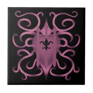 Gothic captured heart mauve small square tile