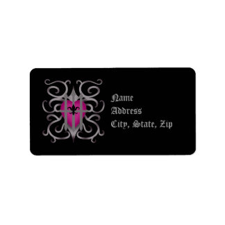 Gothic captured heart pink and gray custom address label