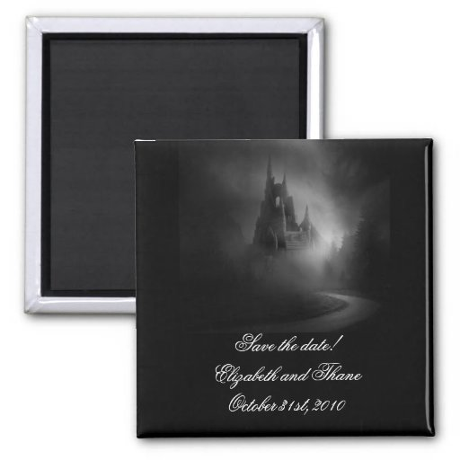 Gothic Castle Wedding Save the Date Fridge Magnets