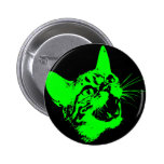 Gothic Cat Feral Evil Scary Growl Fangs 2 Inch Round Button