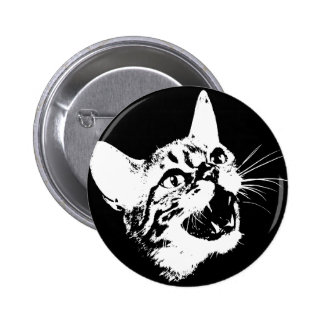 Gothic Cat Feral Evil Scary Growl Fangs Button