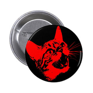 Gothic Cat Feral Evil Scary Growl Fangs Pinback Button