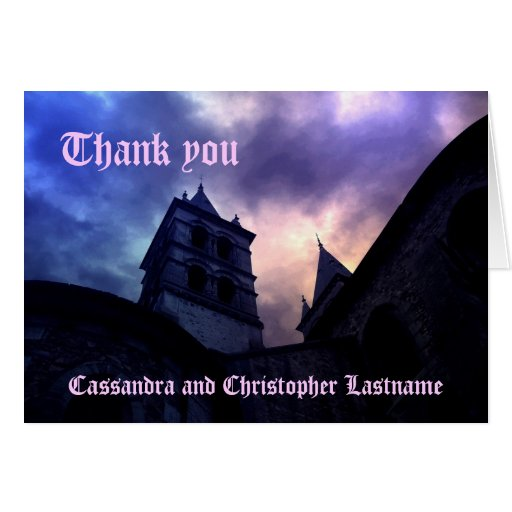 Gothic cathedral colorful sky Wedding Thank you Card