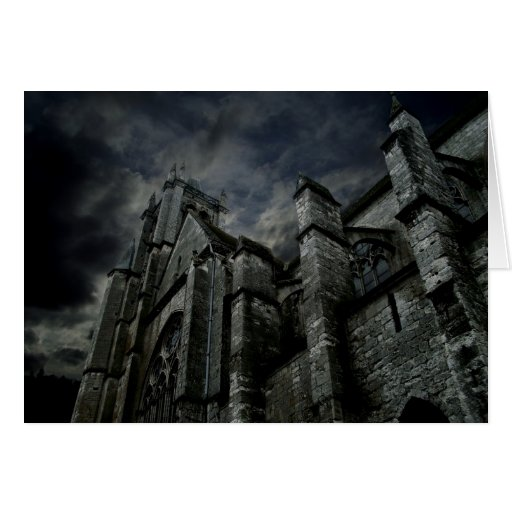 Gothic cathedral with a gloomy dark sky cards