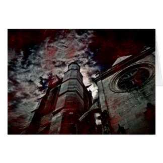Gothic cathedral with blood splatters cards