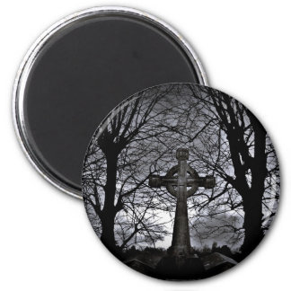 Gothic celtic cross grave 2 inch round magnet