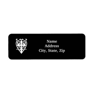 Gothic celtic cross in heart white bridal label