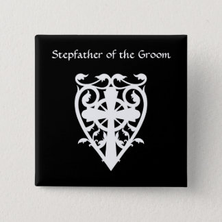 Gothic celtic cross in heart white stepfather pinback button
