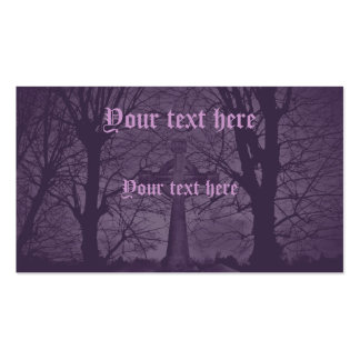 Gothic celtic cross tombstone purple Double-Sided standard business cards (Pack of 100)