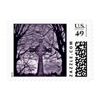 Gothic celtic cross tombstone purple small postage