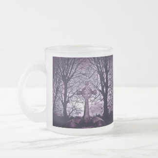Gothic celtic cross tombstone purple version frosted glass coffee mug