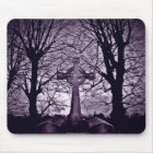 Gothic celtic cross tombstone purple version mouse pad