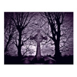 Gothic celtic cross tombstone purple version postcards