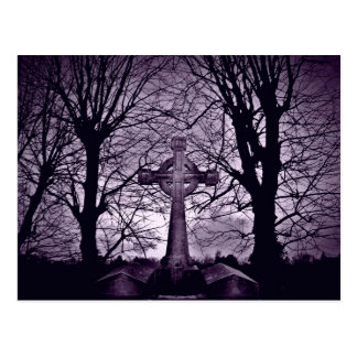 Gothic celtic cross tombstone purple version postcard