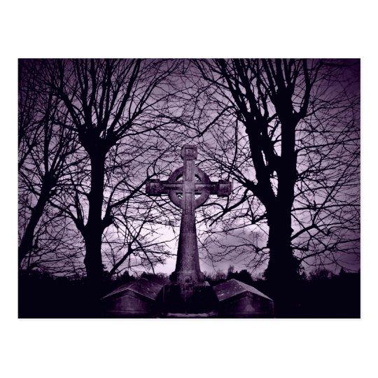 Gothic celtic cross tombstone purple version postcard