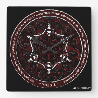 Gothic Celtic Mermaids Square Wall Clock