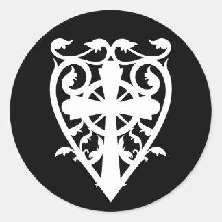 Gothic cemetery celtic cross heart in white sticker