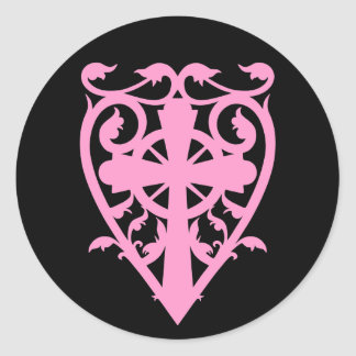 Gothic cemetery celtic cross in heart pink black round stickers
