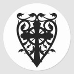Gothic cemetery celtic cross in heart round stickers