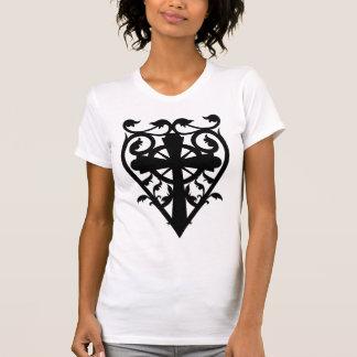 Gothic cemetery celtic cross in heart T-Shirt