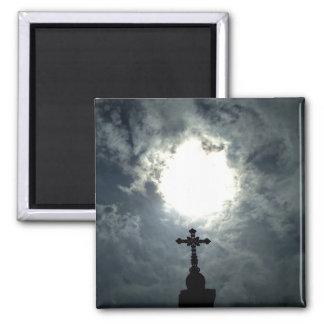 Gothic cemetery cross with sun break magnet
