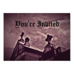 Gothic cemetery crypts in purple personalized announcement