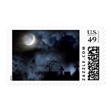 Halloween Themed Gothic Cemetery in Blue Moonlight Wolf Stamp