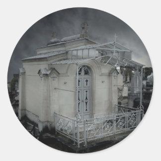 Gothic cemetery ornate crypt classic round sticker