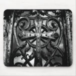 Gothic cemetery wrought iron celtic cross in heart mouse pad