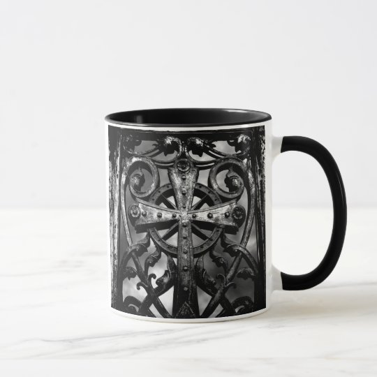 Gothic cemetery wrought iron celtic cross in heart mug