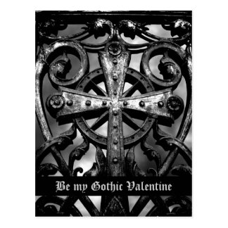 Gothic cemetery wrought iron celtic cross in heart postcard