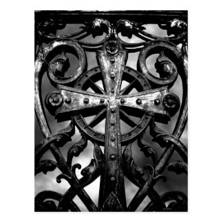 Gothic cemetery wrought iron celtic cross in heart post card