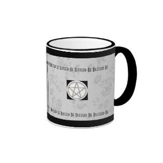 Gothic Cherry Blossom Gray & White Pagan Pentacle Ringer Mug