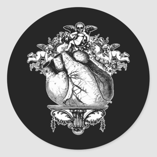 Gothic Cherubs and Heart Classic Round Sticker