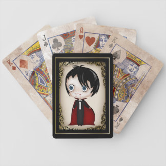 Gothic Chibi Style Vampire Boy Playing Cards