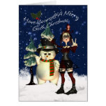 Gothic Christmas Card, H.I.P. And Snowman Greeting Card