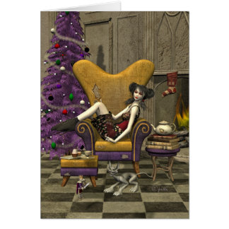 "Gothic Christmas Card - ""Waiting for Santa"""