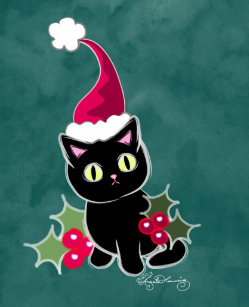 Gothic Christmas Cat Green Small Stocking