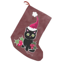 Gothic Christmas Cat Red Small Christmas Stocking