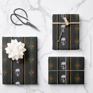 Gothic Christmas Skull Wrapping Paper