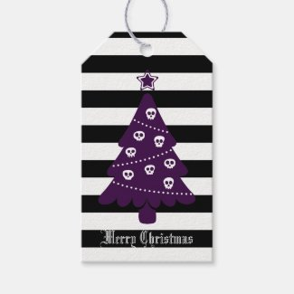 Gothic Christmas Tree With Stripes Gift Tags