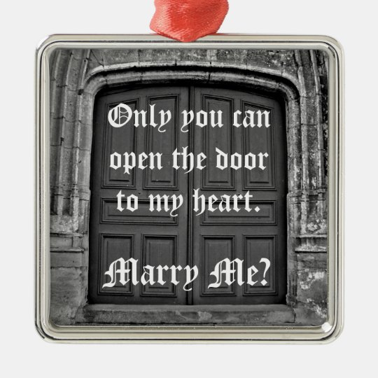 Gothic church door marriage proposal metal ornament