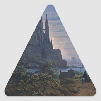 Gothic Church on a Rock by the Sea by K. Schinkel Triangle Sticker