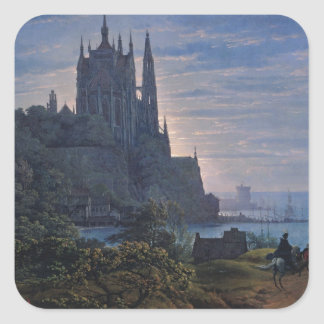 Gothic Church on a Rock by the Sea by K. Schinkel Square Sticker